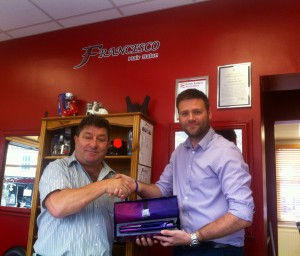 Gary receives his ghd raffle prize from Franco!